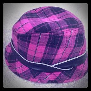 Justice Girls Pink Plaid/Zipper Hat